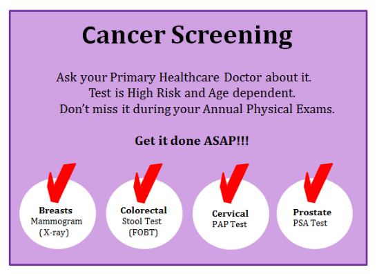 Cancer Screening for breast, colorectal, Cervical and Prostate Cancer