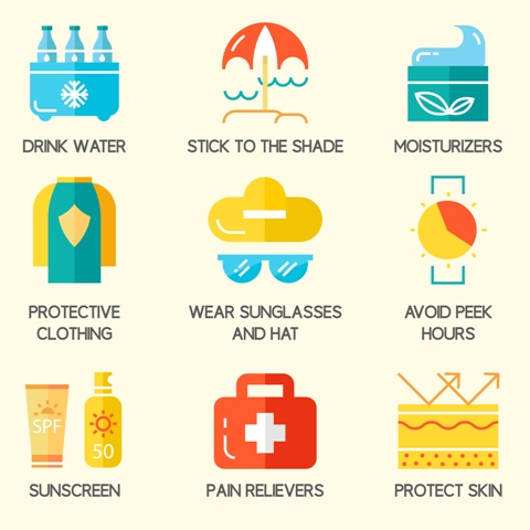 Skin Cancer Prevention tips: Drink lots of water, apply sun screen, avoid going out in peek hours