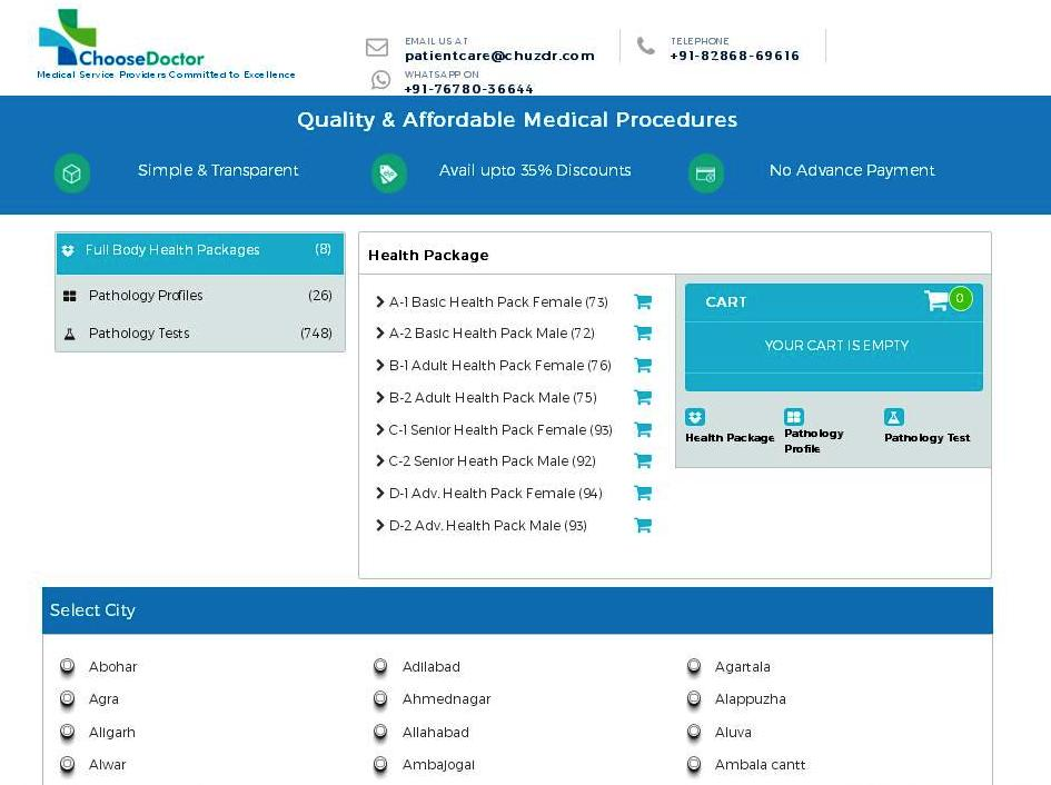 Get discounts on full body checkup on ChooseDoctor Website